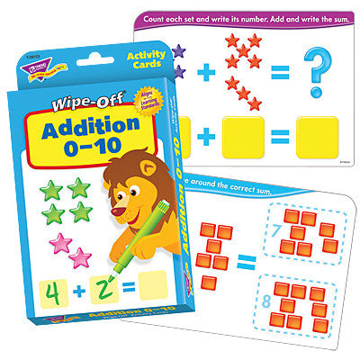 Addition 0 - 10 Wipe Off Dry Erase Activity Cards