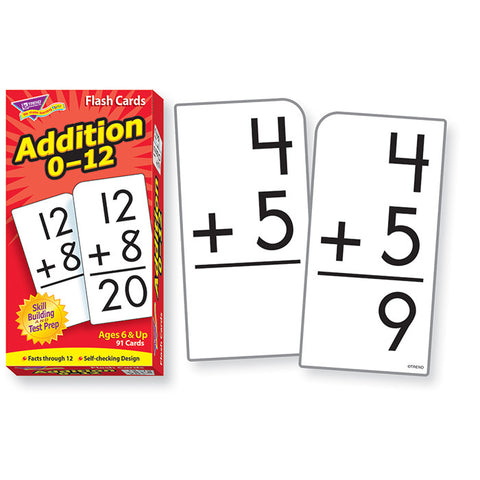 Addition 0 - 12 Math Skill Drill Flash Cards
