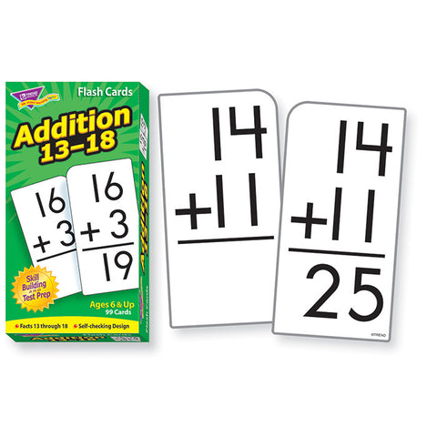 Addition 13 - 18 Skill Drill Flash Math Cards - EducationalLearningGames.com
