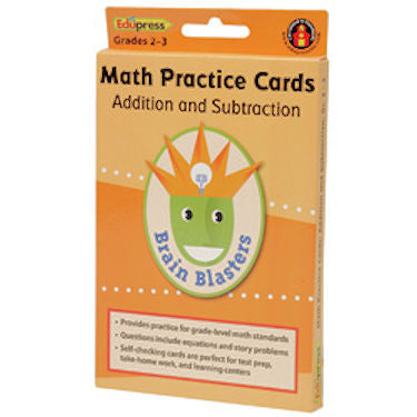 Addition and Subtraction Math Practice Cards, Grade 2 - 3 - EducationalLearningGames.com
