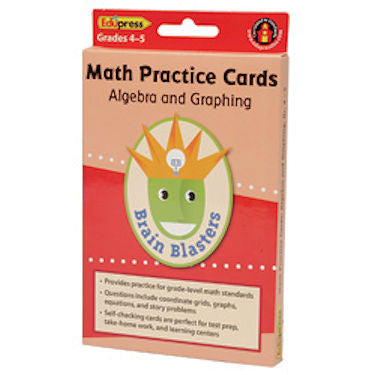 Algebra & Graphing Math Practice Cards Brain Blasters