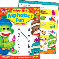 Alphabet Fun Sock Monkeys Wipe-off Workbook for Kids - EducationalLearningGames.com