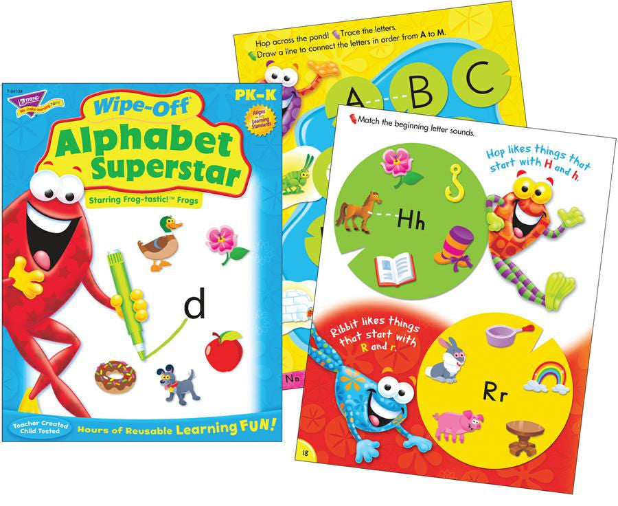 Alphabet Superstar Frog-tastic Wipe-Off Book for Kids - EducationalLearningGames.com