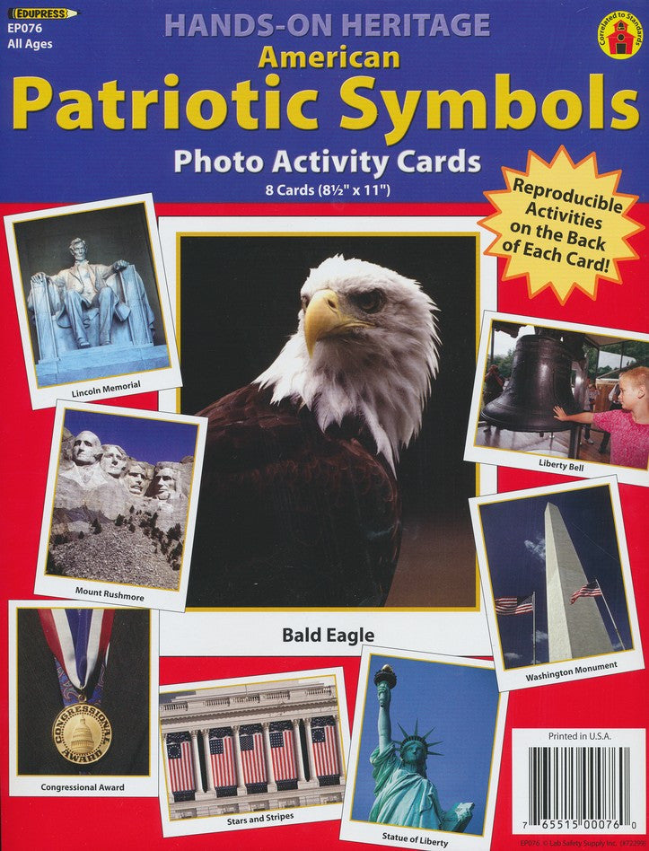 Hands-on Heritage American Patriotic Symbols Photo Activity Cards - EducationalLearningGames.com