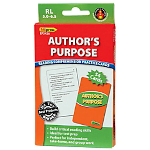 Author's Purpose Reading Comprehension Practice Cards, Green Level - EducationalLearningGames.com