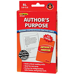 Author's Purpose Reading Comprehension Practice Cards, Red Level