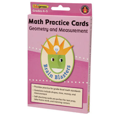 Brain Blasters Math Skills Cards, Geometry and Measurement, 4 - 5 - EducationalLearningGames.com