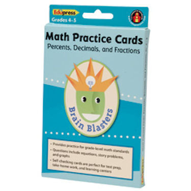 Brain Blasters Math Skills Practice Cards, Percents, Decimals and Fractions