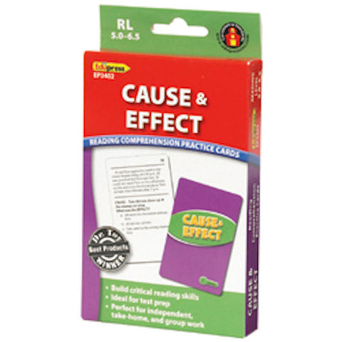 Cause and Effect Reading Comprehension Practice Cards, Green Level  EducationalLearningGames.com