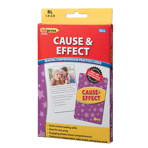 Cause & Effect Reading Comprehension Practice Cards Yellow Level