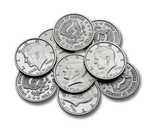 Coins Play Money Plastic Half-Dollar, Set of 50
