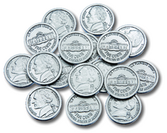 Coins Nickles Play Money, Set of 100