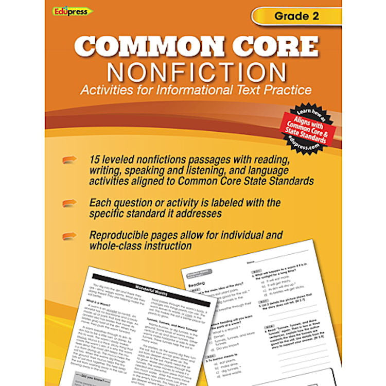 Common Core Nonfiction Activity Book, Grade 2 - EducationalLearningGames.com