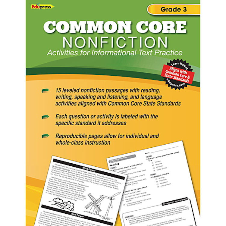 Common Core Nonfiction Activity Book, Grade 3 - EducationalLearningGames.com