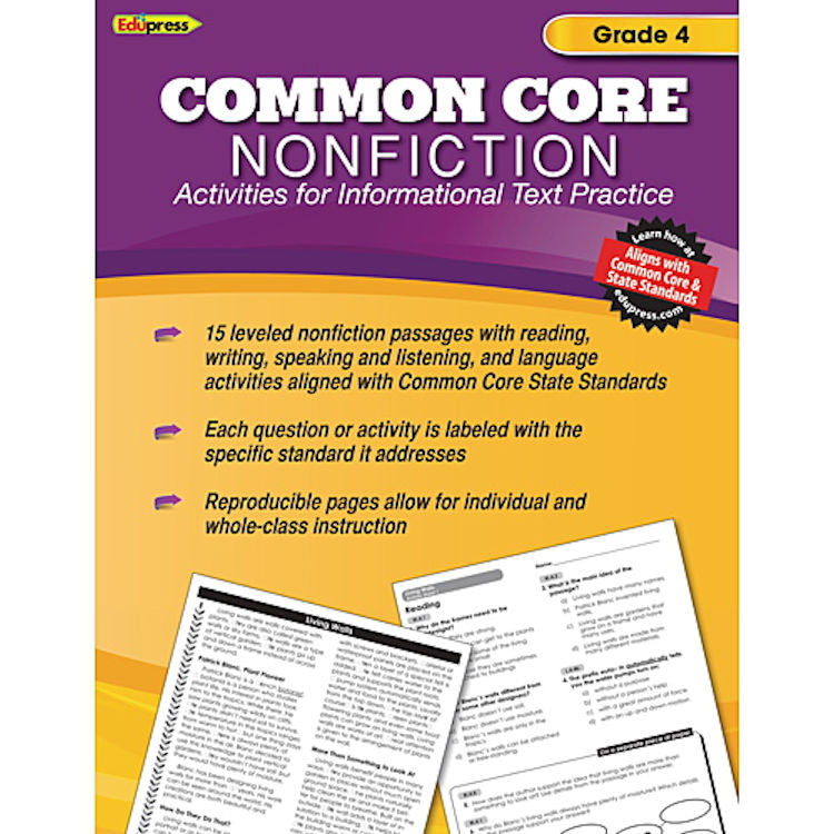 Common Core Nonfiction Activity Book, Grade 4 - EducationalLearningGames.com