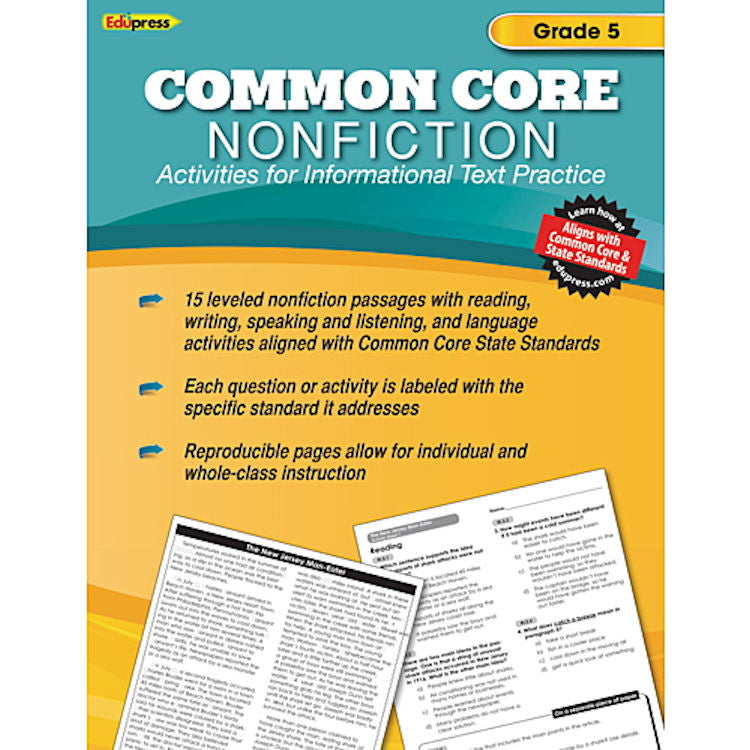 Common Core Nonfiction Activity Book, Grade 5 - EducationalLearningGames.com