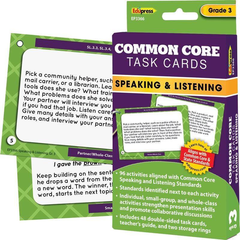 Common Core Speaking and Listening Task Cards, Grade 3