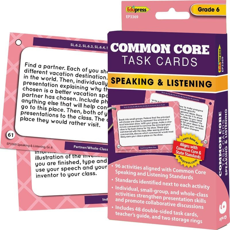 Common Core Speaking and Listening Task Cards, Grade 6