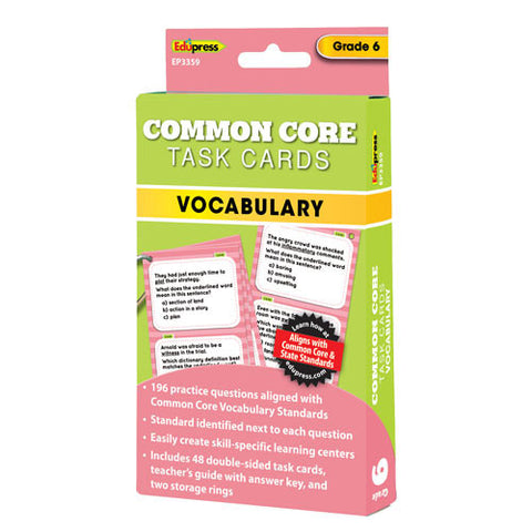 Common Core Vocabulary Task Cards, Grade 6