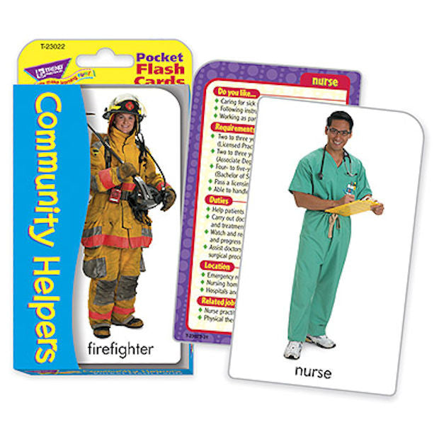Community Helpers Careers Pocket Flash Cards - EducationalLearningGames.com
