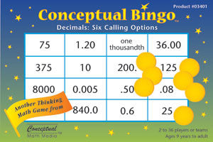 Conceptual Bingo Decimal Game - EducationalLearningGames.com