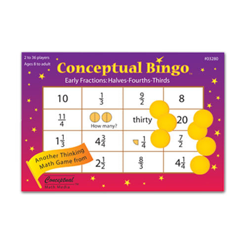 Conceptual Bingo Early Fractions Halves-Fourths-Thirds Game
