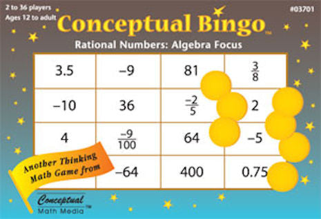 Conceptual Bingo Rational Numbers Algebra Game - EducationalLearningGames.com
