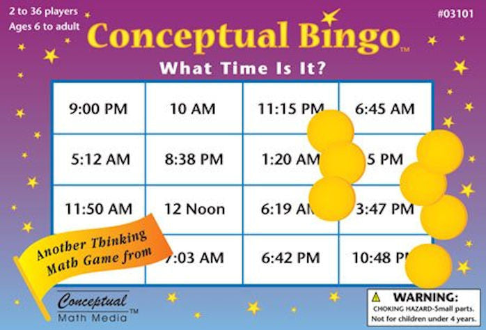 Conceptual Bingo What Time is it Game - EducationalLearningGames.com