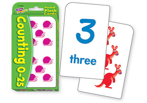 Counting 0 - 25 Pocket Math Flash Cards - EducationalLearningGames.com
