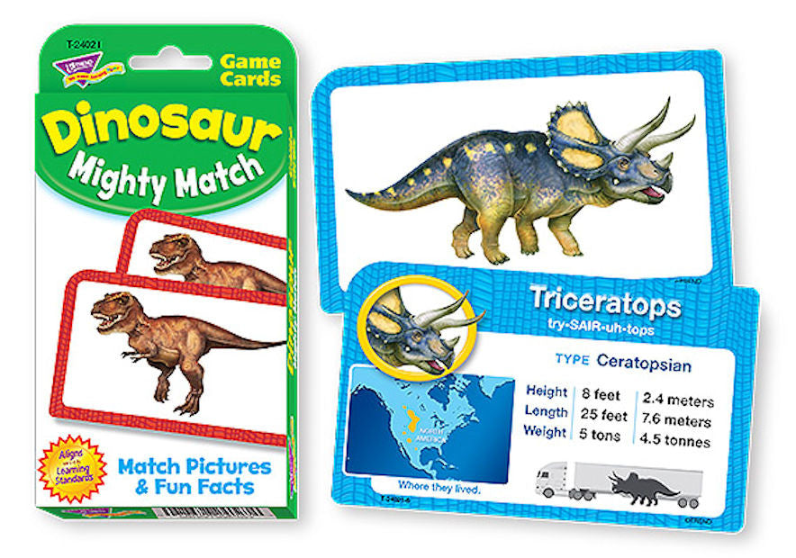 Dinosaur Mighty Match Challenge Card Game - EducationalLearningGames.com
