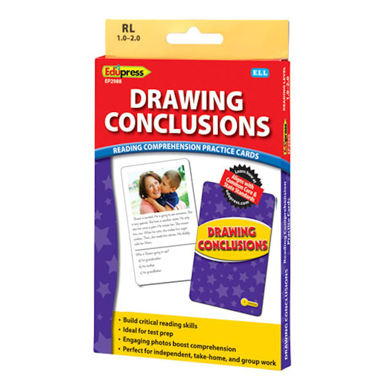 Drawing Conclusions Reading Comprehension Practice Cards, Yellow Level EducationalLearningGames.com