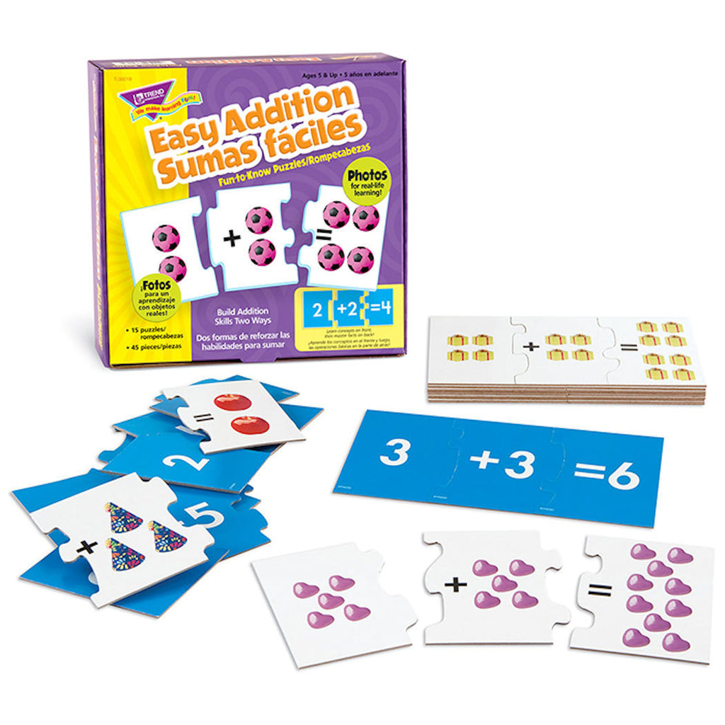 Easy Addition Sumas Faciles Spanish Puzzle Cards EducationalLearningGames.com