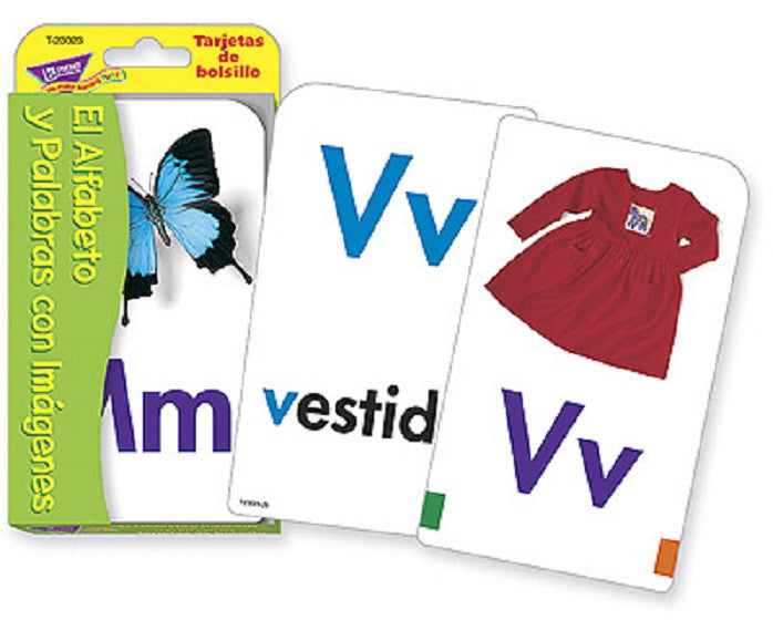 SPANISH Alphabet El Alfabeto y Palabras con Imágenes Picture Flash Cards - EducationalLearningGames.com