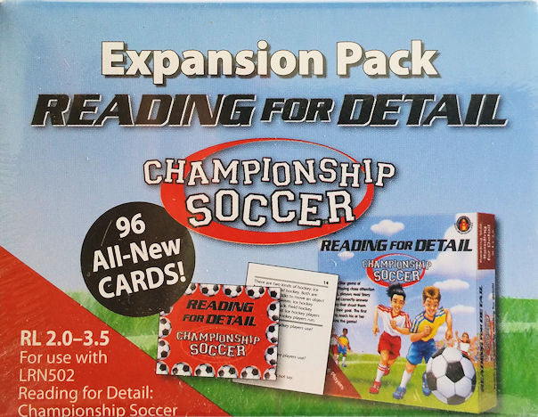 Expansion Pack Reading for Details Championship Soccer, Red Level  EducationalLearningGames.com