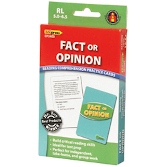 Fact or Opinion Reading Comprehension Practice Cards, Green Level EducationalLearningGames.com