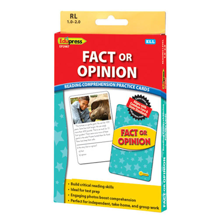 Fact or Opinion Reading Comprehension Practice Cards, Yellow Level EducationalLearningGames.com