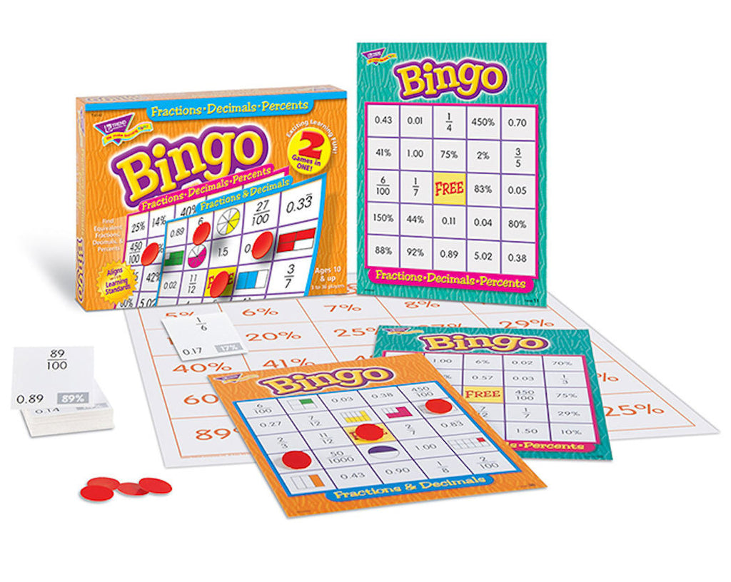Fractions, Decimals, Percents Bingo Game - EducationalLearningGames.com