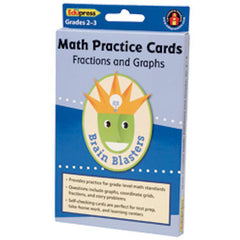 Fractions and Graphs Math Practice Cards Brain Blasters - EducationalLearningGames.com