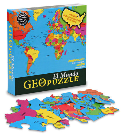 GEOPuzzle World in Spanish El Mundo Geo Puzzle 68 Piece Jigsaw Puzzle - EducationalLearningGames.com