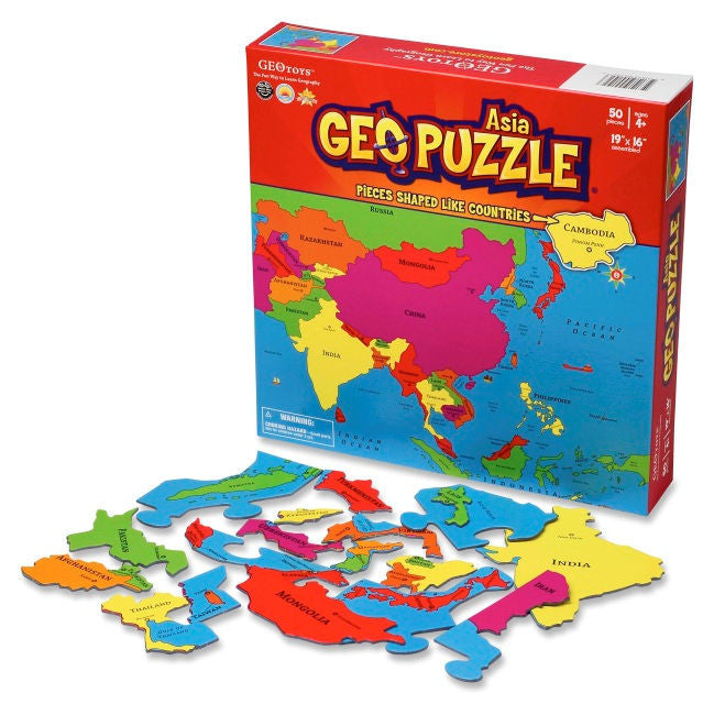 GeoPuzzle Asia Puzzle - EducationalLearningGames.com