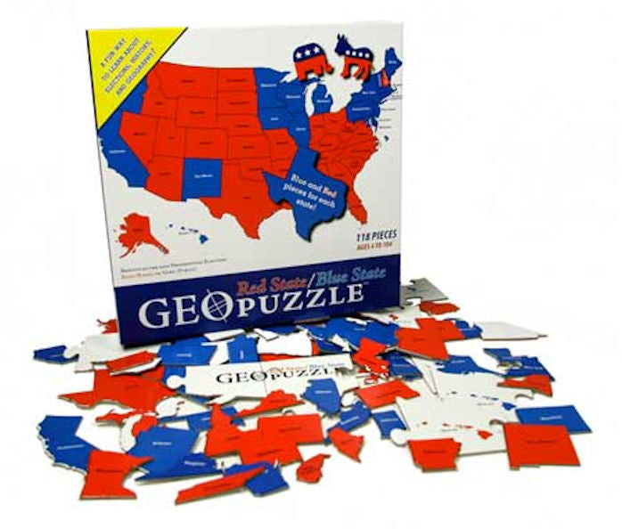 GeoPuzzle Red State and Blue State - EducationalLeaningGames.com