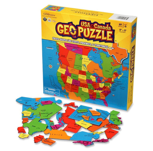GeoPuzzle US AND Canada Jigsaw Puzzle - EducationalLearningGames.com