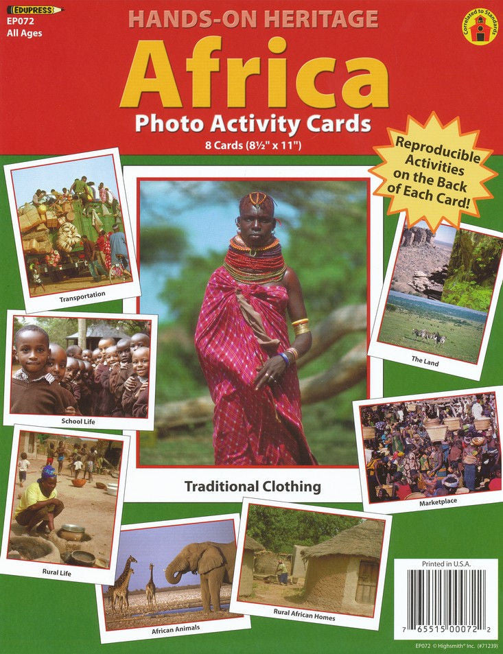 Hands-On Heritage Photo Activity Cards, Africa, Set of 8 EducationalLearningGames.com