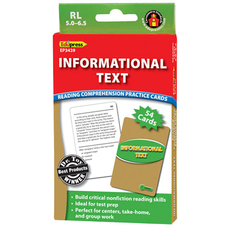 Informational Text Reading Comprehension Practice Cards, Green Level  EducationalLearningGames.com