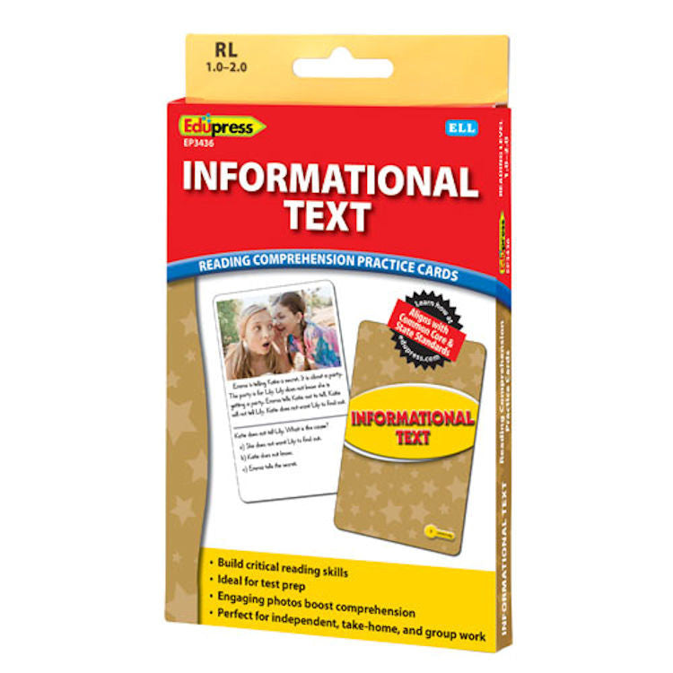 Informational Text Reading Comprehension Practice Cards, Yellow Level EducationalLearningGames.com