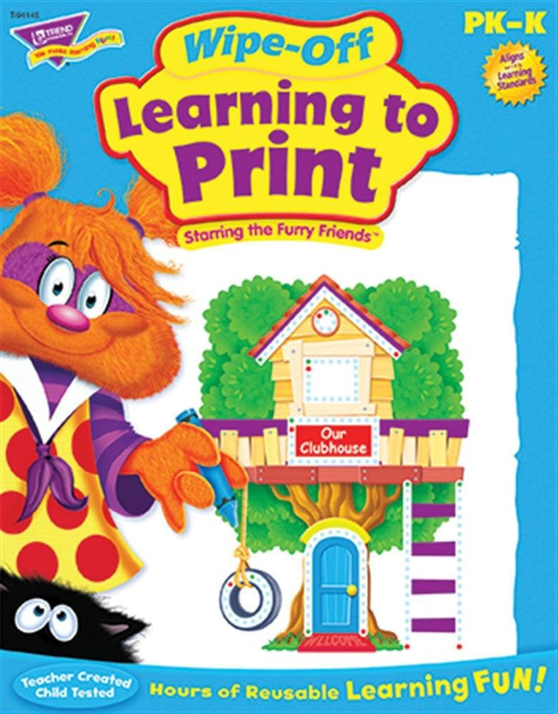 Learning to Print Furry Friends Wipe-off Workbook for Kids - EducationalLearningGames.com