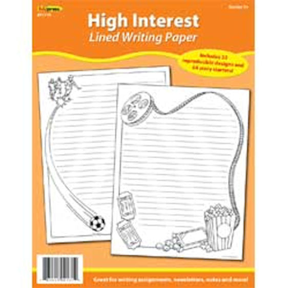 Lined Writing Paper, High Interest - EducationalLearningGames.com