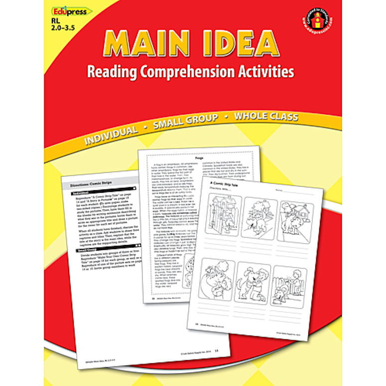 Main Idea Reading Comprehension Book, Reading Levels 2.0 - 3.5 - EducationalLearningGames.com