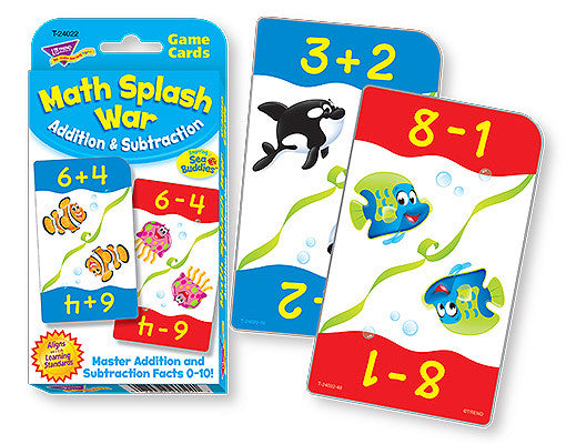 Math Splash War Addition and Subtraction Challenge Cards - EducationalLearningGames.com