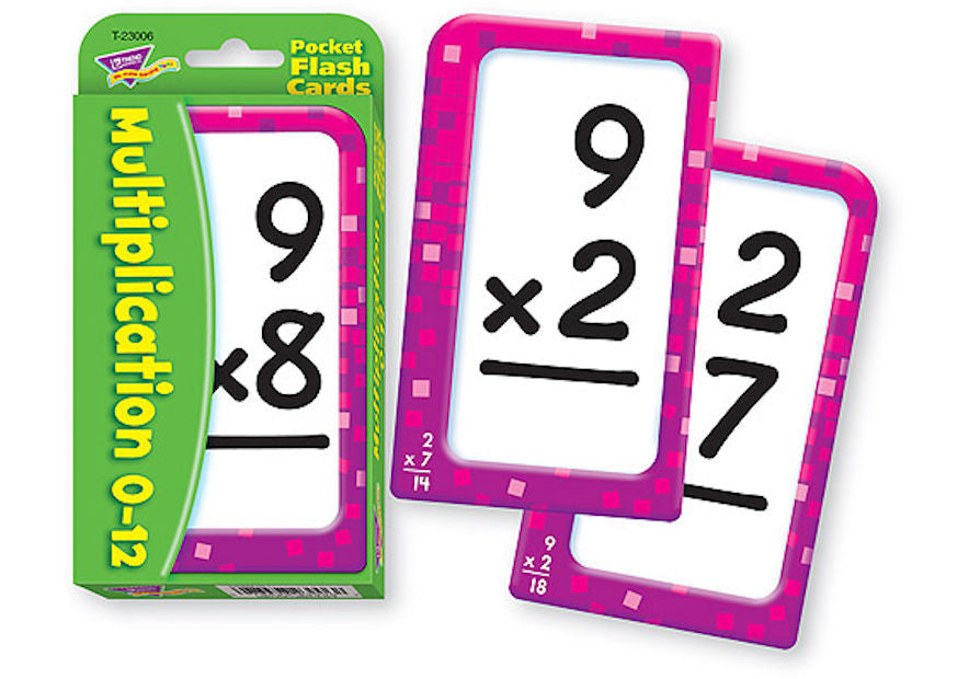 Multiplication 0-12 Pocket Flash Cards - EducationalLearningGames.com